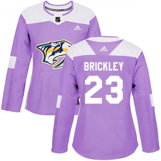 Connor Brickley Nashville Predators Women's Adidas Authentic Purple Fights Cancer Practice Jersey