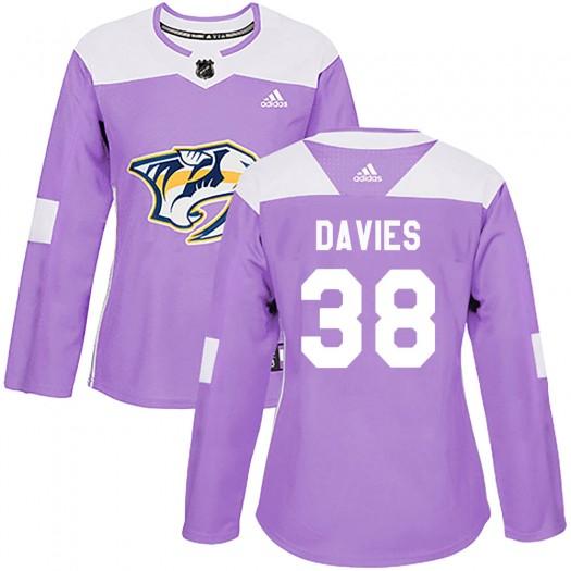 Jeremy Davies Nashville Predators Women's Adidas Authentic Purple Fights Cancer Practice Jersey
