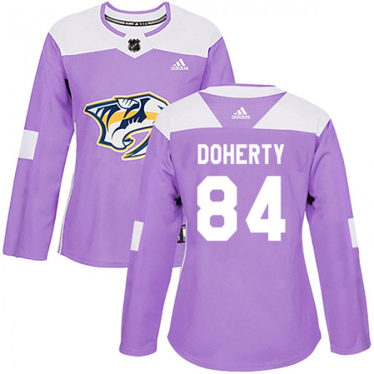 Teddy Doherty Nashville Predators Women's Adidas Authentic Purple Fights Cancer Practice Jersey