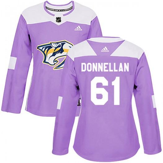 Mike Donnellan Nashville Predators Women's Adidas Authentic Purple Fights Cancer Practice Jersey