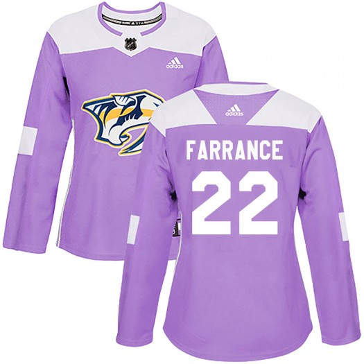 David Farrance Nashville Predators Women's Adidas Authentic Purple Fights Cancer Practice Jersey