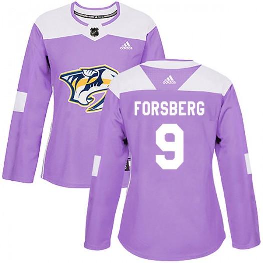 Filip Forsberg Nashville Predators Women's Adidas Authentic Purple Fights Cancer Practice Jersey