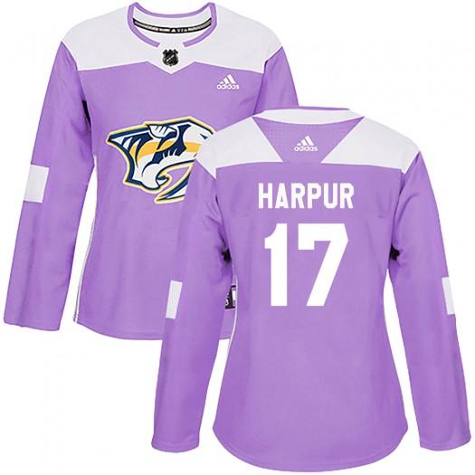 Ben Harpur Nashville Predators Women's Adidas Authentic Purple Fights Cancer Practice Jersey