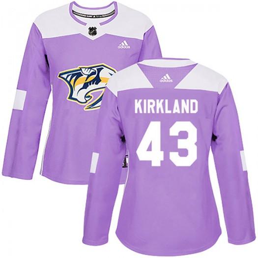 Justin Kirkland Nashville Predators Women's Adidas Authentic Purple Fights Cancer Practice Jersey