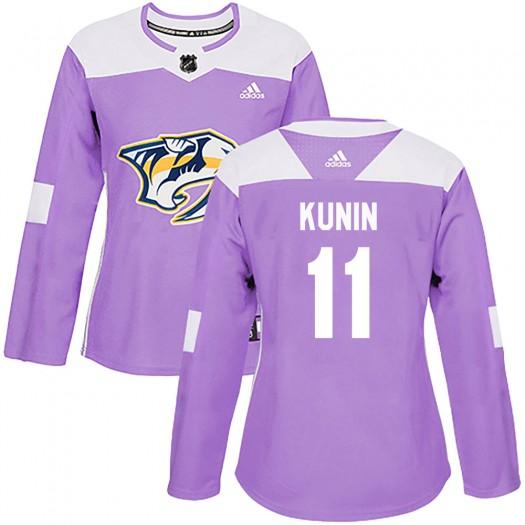 Luke Kunin Nashville Predators Women's Adidas Authentic Purple Fights Cancer Practice Jersey