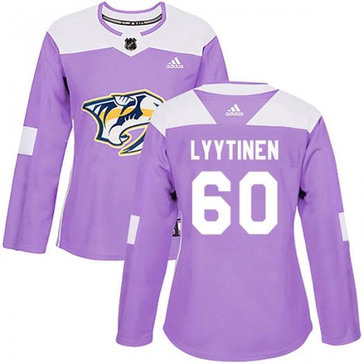 Joonas Lyytinen Nashville Predators Women's Adidas Authentic Purple Fights Cancer Practice Jersey