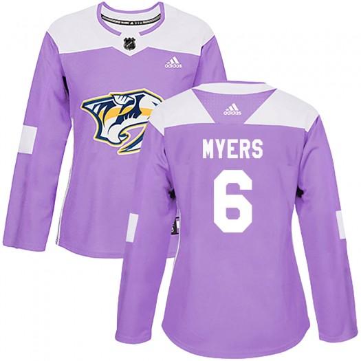 Philippe Myers Nashville Predators Women's Adidas Authentic Purple Fights Cancer Practice Jersey