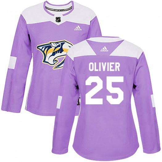Mathieu Olivier Nashville Predators Women's Adidas Authentic Purple Fights Cancer Practice Jersey