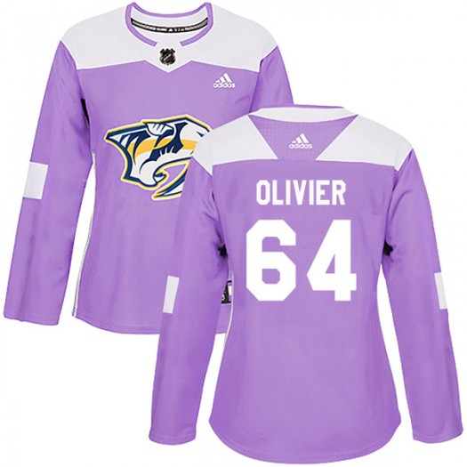 Mathieu Olivier Nashville Predators Women's Adidas Authentic Purple Fights Cancer Practice Jersey