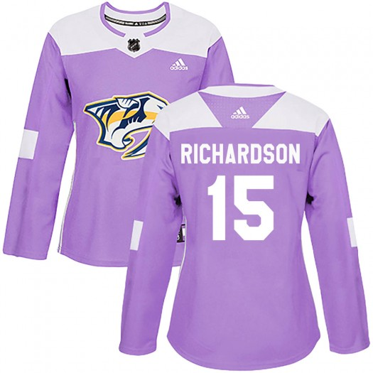 Brad Richardson Nashville Predators Women's Adidas Authentic Purple Fights Cancer Practice Jersey