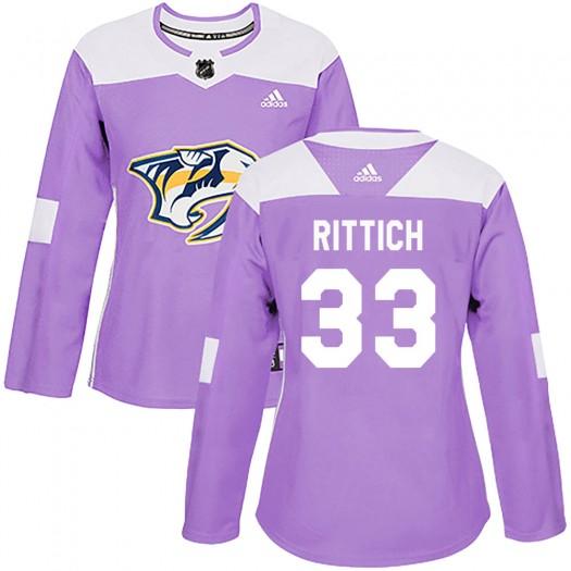 David Rittich Nashville Predators Women's Adidas Authentic Purple Fights Cancer Practice Jersey