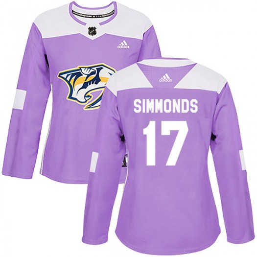 Wayne Simmonds Nashville Predators Women's Adidas Authentic Purple Fights Cancer Practice Jersey