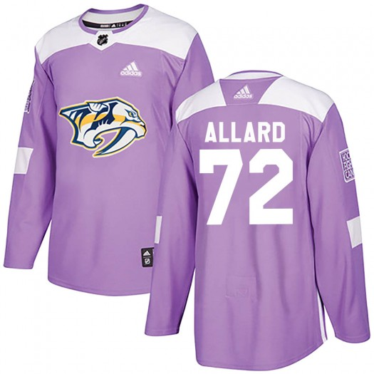 Frederic Allard Nashville Predators Men's Adidas Authentic Purple Fights Cancer Practice Jersey