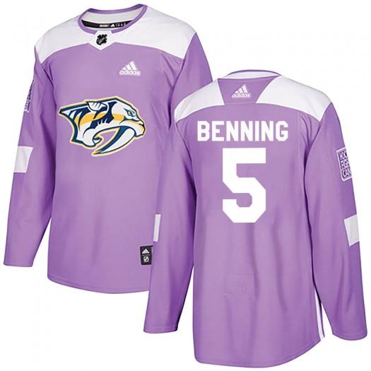 Matt Benning Nashville Predators Men's Adidas Authentic Purple Fights Cancer Practice Jersey