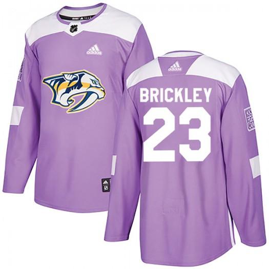 Connor Brickley Nashville Predators Men's Adidas Authentic Purple Fights Cancer Practice Jersey