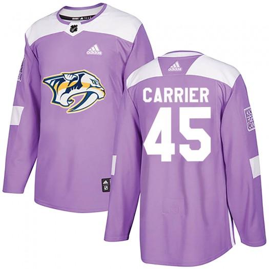 Alexandre Carrier Nashville Predators Men's Adidas Authentic Purple ized Fights Cancer Practice Jersey