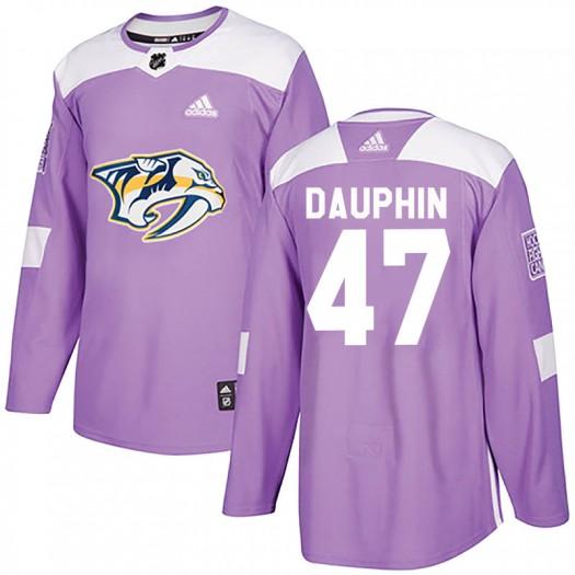 Laurent Dauphin Nashville Predators Men's Adidas Authentic Purple Fights Cancer Practice Jersey