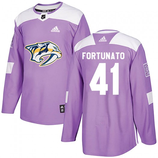 Brandon Fortunato Nashville Predators Men's Adidas Authentic Purple Fights Cancer Practice Jersey