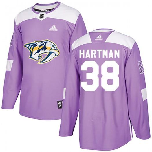 Ryan Hartman Nashville Predators Men's Adidas Authentic Purple Fights Cancer Practice Jersey
