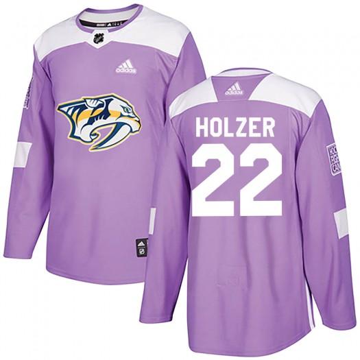 Korbinian Holzer Nashville Predators Men's Adidas Authentic Purple ized Fights Cancer Practice Jersey