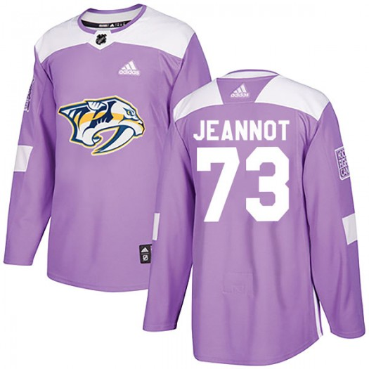 Tanner Jeannot Nashville Predators Men's Adidas Authentic Purple Fights Cancer Practice Jersey