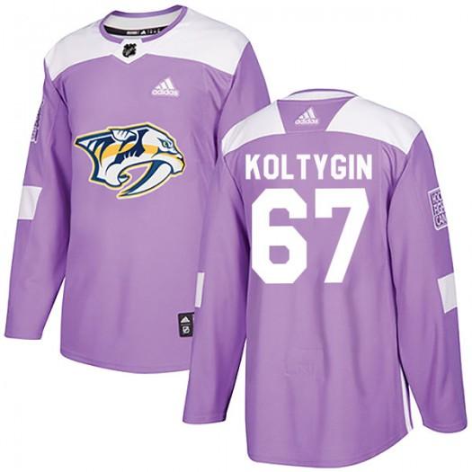 Pavel Koltygin Nashville Predators Men's Adidas Authentic Purple Fights Cancer Practice Jersey