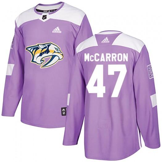 Michael McCarron Nashville Predators Men's Adidas Authentic Purple ized Fights Cancer Practice Jersey