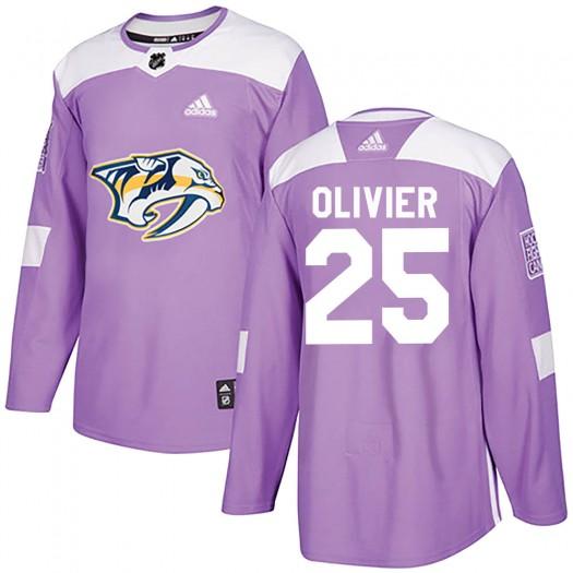 Mathieu Olivier Nashville Predators Men's Adidas Authentic Purple Fights Cancer Practice Jersey