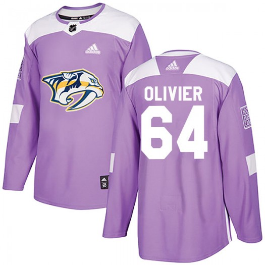 Mathieu Olivier Nashville Predators Men's Adidas Authentic Purple Fights Cancer Practice Jersey