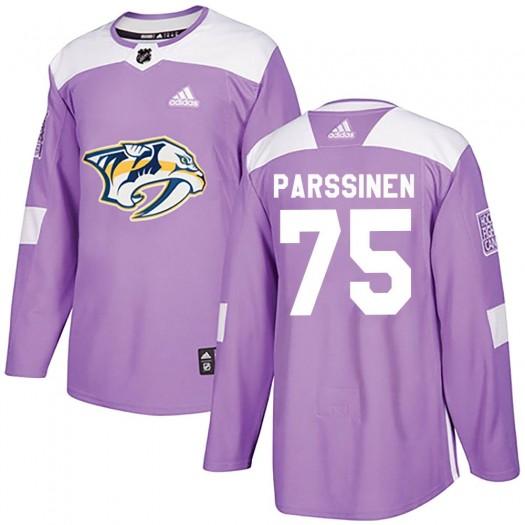 Juuso Parssinen Nashville Predators Men's Adidas Authentic Purple Fights Cancer Practice Jersey