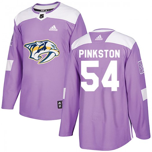 Rick Pinkston Nashville Predators Men's Adidas Authentic Pink Purple Fights Cancer Practice Jersey