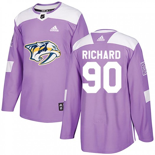 Anthony Richard Nashville Predators Men's Adidas Authentic Purple Fights Cancer Practice Jersey