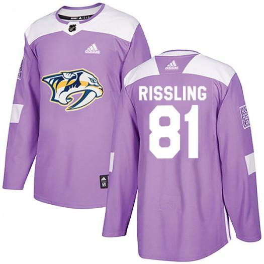 Jaynen Rissling Nashville Predators Men's Adidas Authentic Purple Fights Cancer Practice Jersey