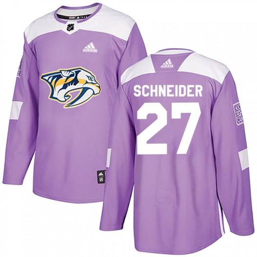 Cole Schneider Nashville Predators Men's Adidas Authentic Purple Fights Cancer Practice Jersey