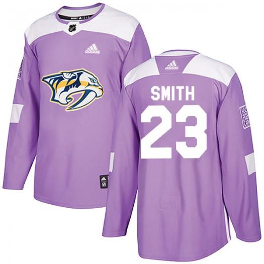 Trevor Smith Nashville Predators Men's Adidas Authentic Purple Fights Cancer Practice Jersey