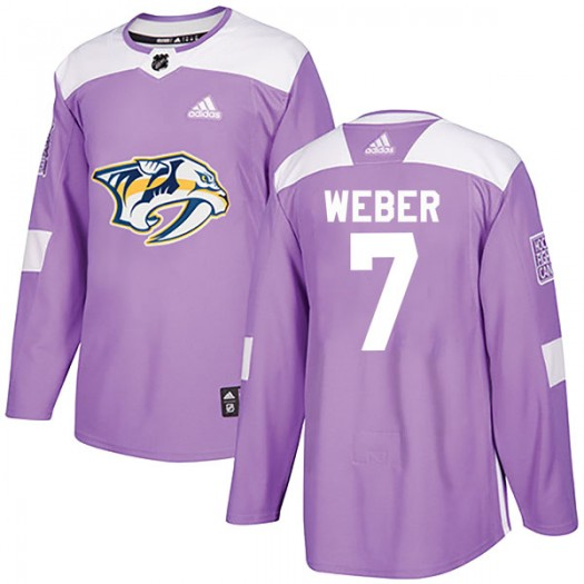 Yannick Weber Nashville Predators Men's Adidas Authentic Purple Fights Cancer Practice Jersey