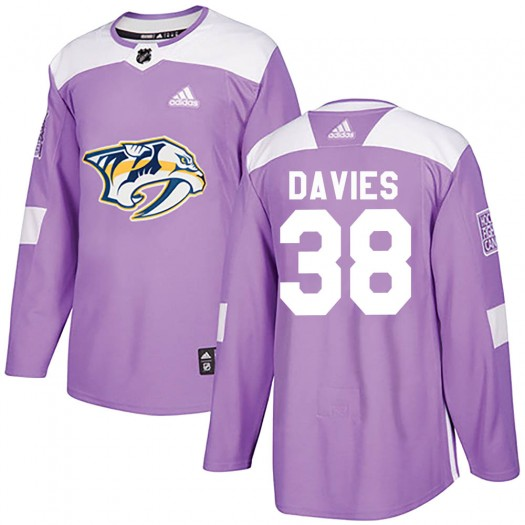 Jeremy Davies Nashville Predators Youth Adidas Authentic Purple Fights Cancer Practice Jersey