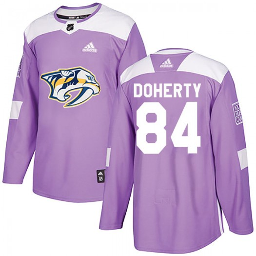 Teddy Doherty Nashville Predators Youth Adidas Authentic Purple Fights Cancer Practice Jersey