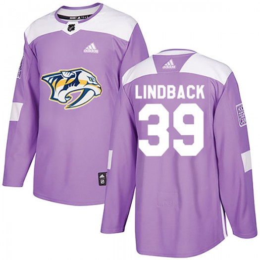 Anders Lindback Nashville Predators Youth Adidas Authentic Purple Fights Cancer Practice Jersey