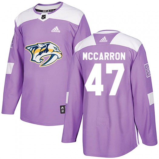 Michael McCarron Nashville Predators Youth Adidas Authentic Purple ized Fights Cancer Practice Jersey