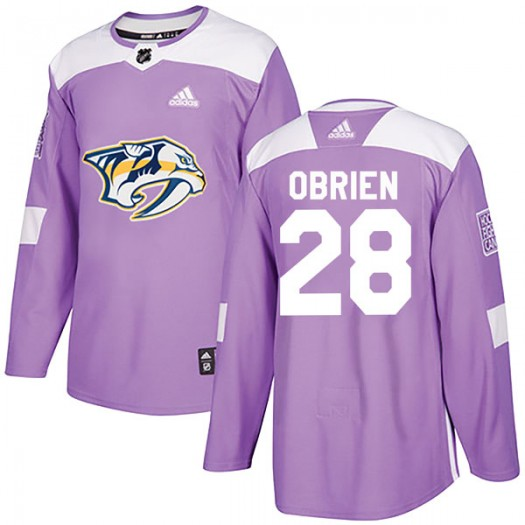 Andrew Obrien Nashville Predators Youth Adidas Authentic Purple Fights Cancer Practice Jersey