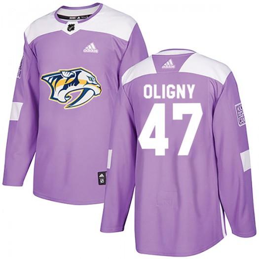 Jimmy Oligny Nashville Predators Youth Adidas Authentic Purple Fights Cancer Practice Jersey