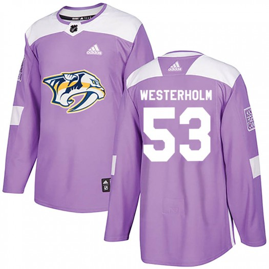 Niclas Westerholm Nashville Predators Youth Adidas Authentic Purple Fights Cancer Practice Jersey