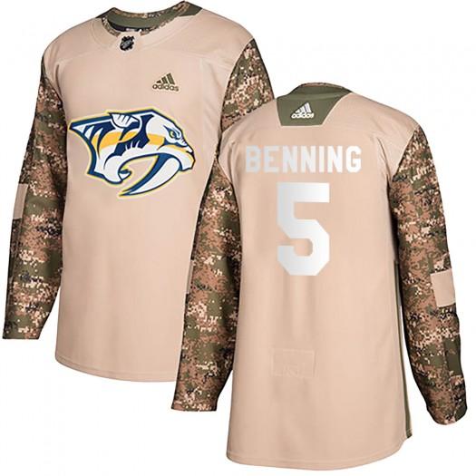 Matt Benning Nashville Predators Men's Adidas Authentic Camo Veterans Day Practice Jersey