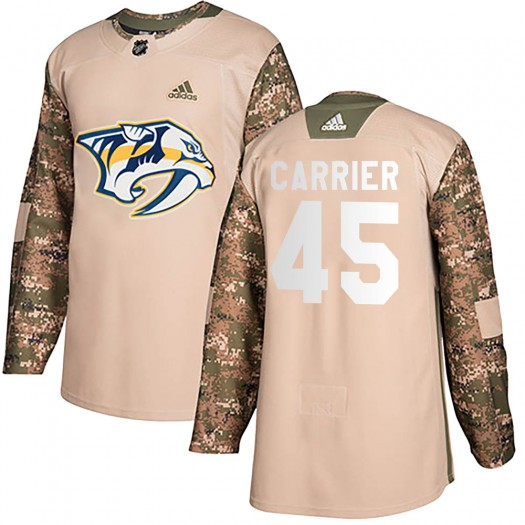 Alexandre Carrier Nashville Predators Men's Adidas Authentic Camo Veterans Day Practice Jersey
