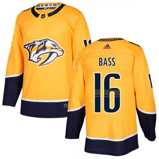 Cody Bass Nashville Predators Men's Adidas Authentic Gold Home Jersey