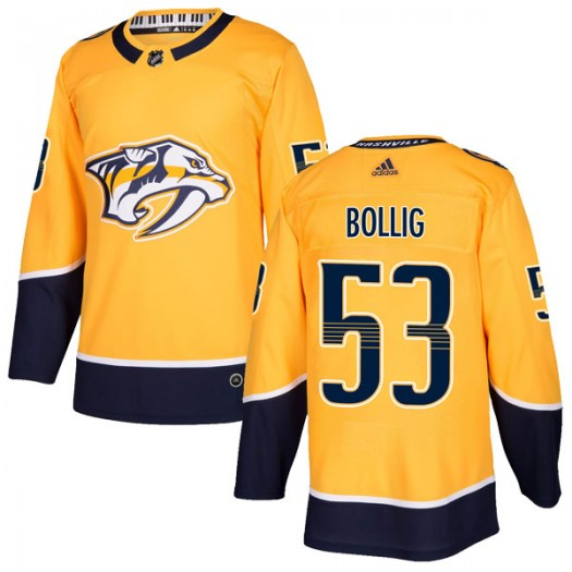 Brandon Bollig Nashville Predators Men's Adidas Authentic Gold Home Jersey