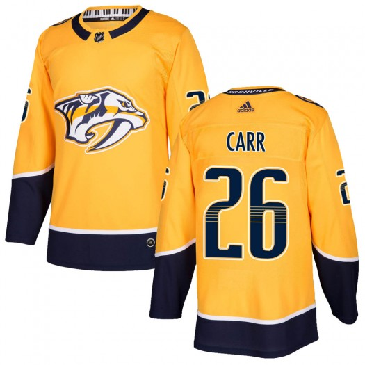 Daniel Carr Nashville Predators Men's Adidas Authentic Gold Home Jersey