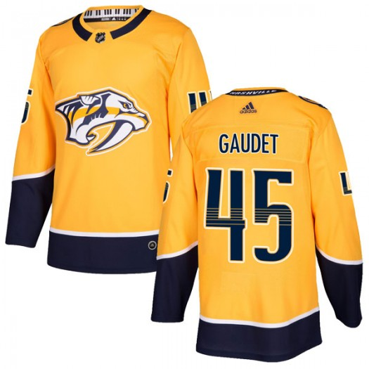 Tyler Gaudet Nashville Predators Men's Adidas Authentic Gold Home Jersey