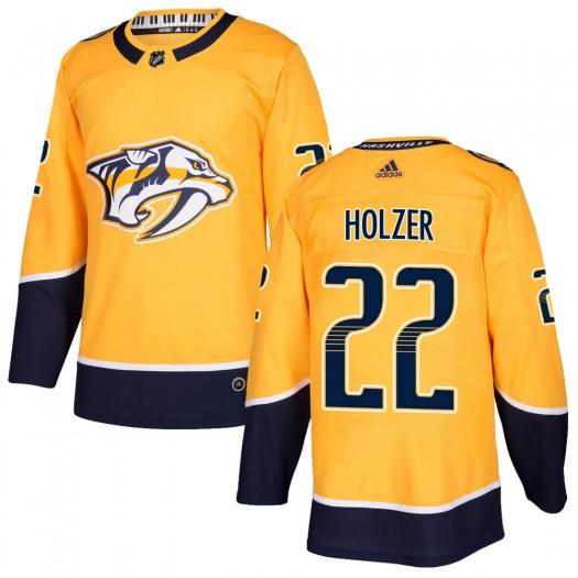 Korbinian Holzer Nashville Predators Men's Adidas Authentic Gold ized Home Jersey